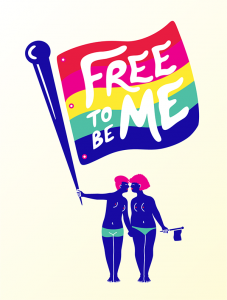 """Illustration of two individuals holding a pride flag that says """"Free to be me"""" on it"""