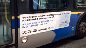 A Translink advertisement for WAVAW offering support through their crisis line